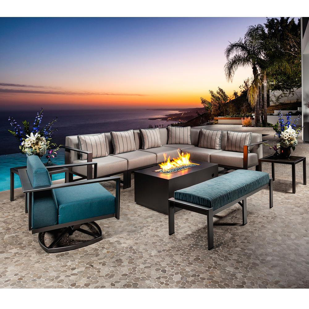 OW Lee Studio Patio Sectional Set with Fire Table