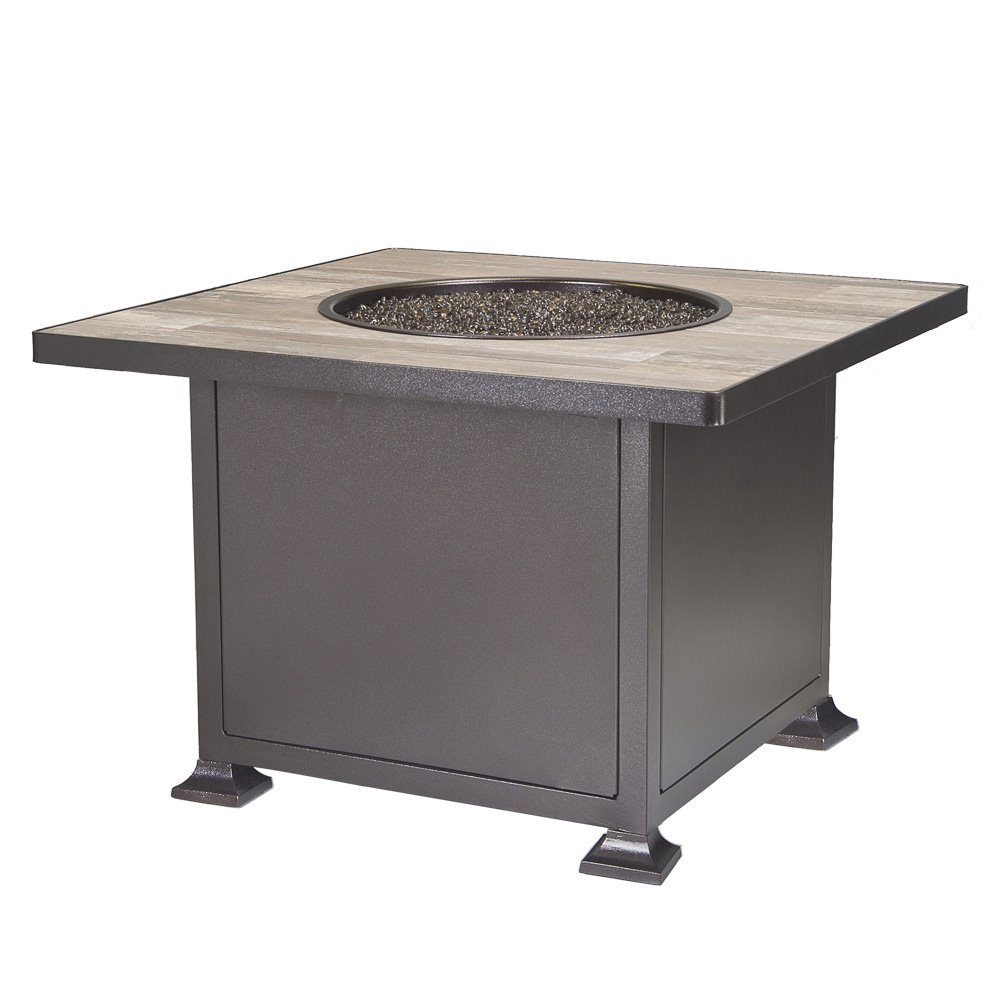 "OW Lee OW Lee Vulsini 36"" Square Chat Height Aluminum Fire Pit - 5120-36SQC"