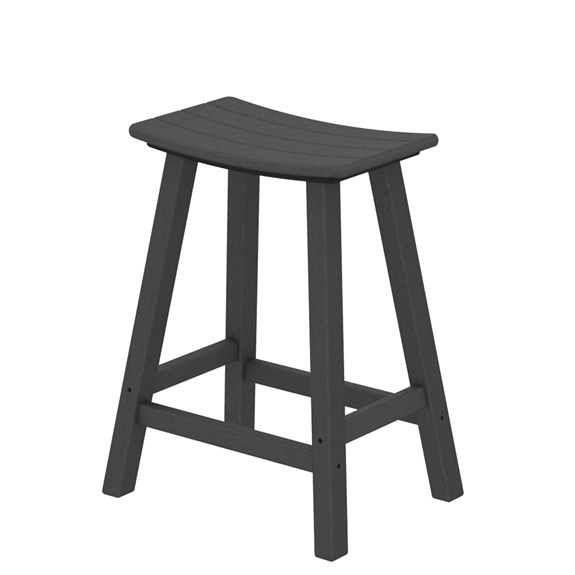 Polywood Traditional 24 Inch Tall Saddle Bar Stool 2001