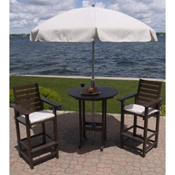 PolyWood Captain 3 Piece Bar Set with Round Table - PW-CAPTAIN-SET6
