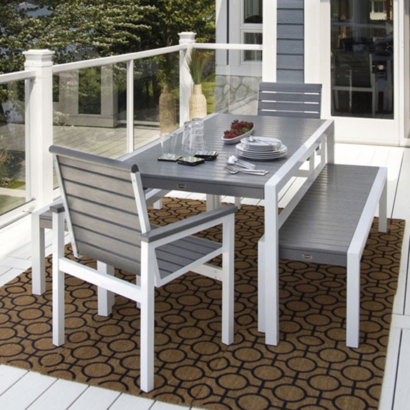 Polywood Mod Dining Set With Benches Pw Set2