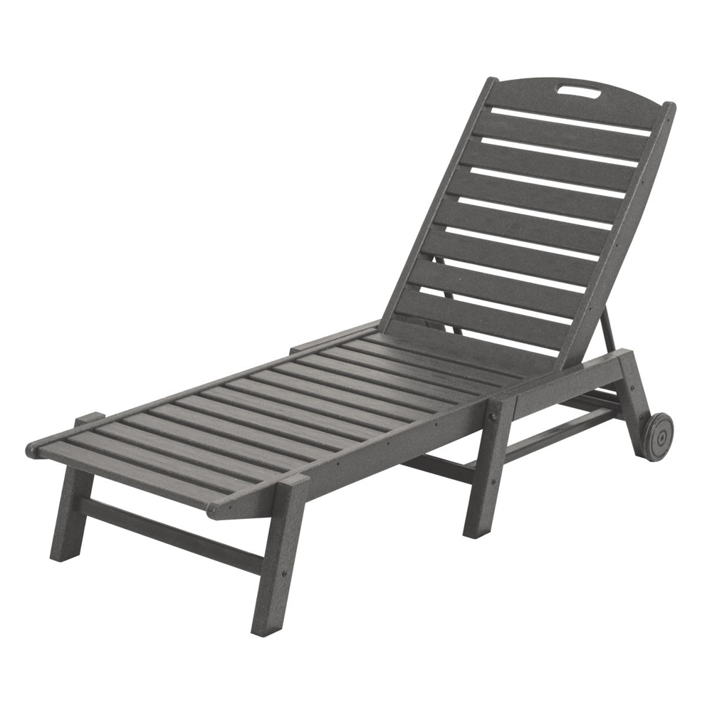 PolyWood Nautical Armless Chaise with Wheels - NAW2280