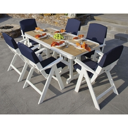 PolyWood Nautical 7 Piece Dining Set with Slipcushions - PW-NAUTICAL-SET5