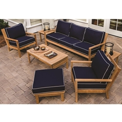 Royal Teak Coastal Teak Sofa and Lounge Chair Outdoor Furniture Set with Ottoman - RT-COASTAL-SET2