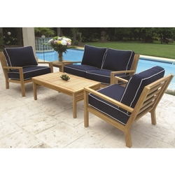 Royal Teak Coastal Teak Love Seat and Lounge Chair Deep Seating Furniture Set - RT-COASTAL-SET3