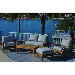 Royal Teak Miami Teak Love Seat and Lounge Chair Outdoor Furniture Set - RT-MIAMI-SET5