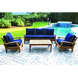 Royal Teak Miami Teak Sofa Outdoor Furniture Set with Coffee Table - RT-MIAMI-SET6