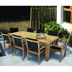 Royal Teak Captiva Sling Outdoor Dining Set for 8 - RT-CAPTIVA-SET1