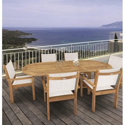 Royal Teak Captiva Sling Outdoor Dining Set for 6 with Expansion Table - RT-CAPTIVA-SET2