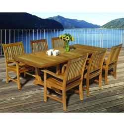 Royal Teak Compass Outdoor Dining Set for 6 with Expansion Table - RT-COMPASS-SET2