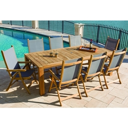 Royal Teak Florida Sling Outdoor Dining Set for 8 - RT-FLORIDA-SET2