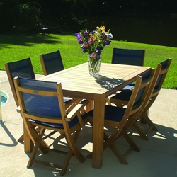 Royal Teak Sailmate Sling Dining Set for 6 with Folding Chairs - RT-SAILMATE-SET1