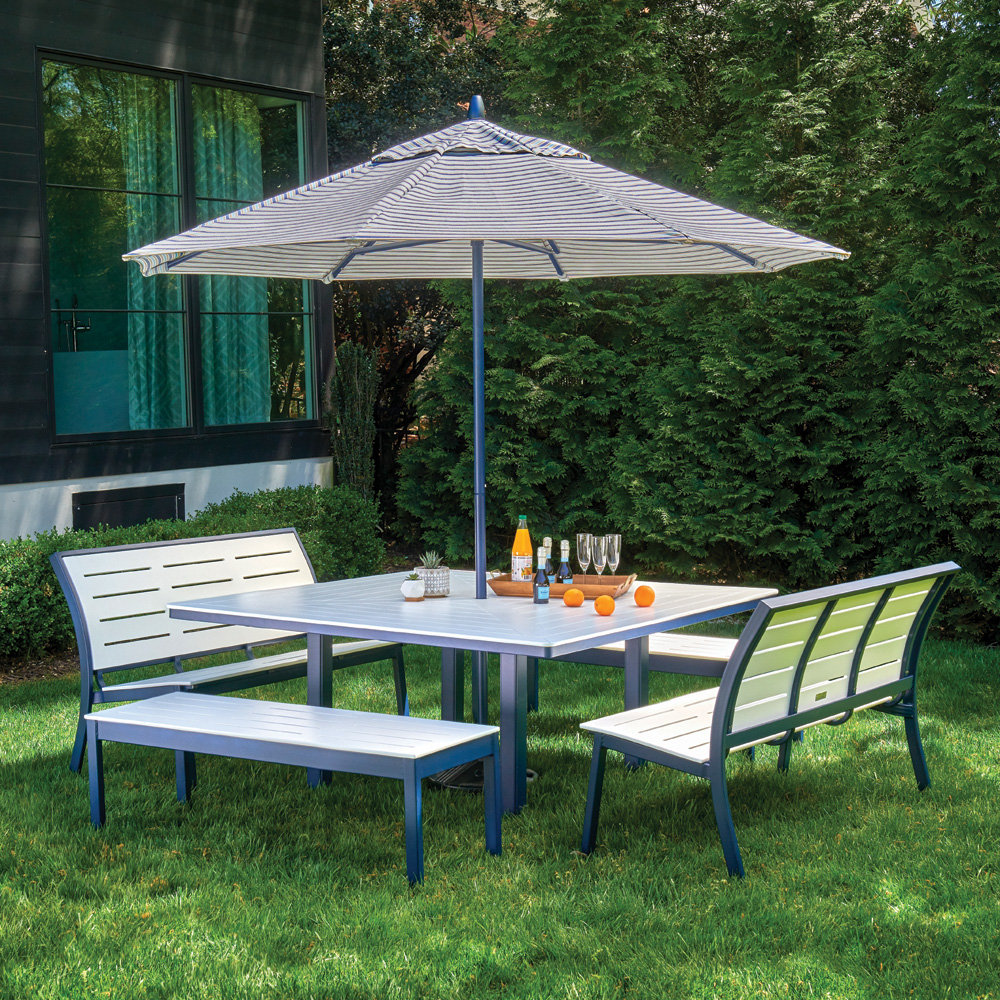 Sensational Telescope Casual Bazza Bench Dining Set With With Square Table And Umbrella Squirreltailoven Fun Painted Chair Ideas Images Squirreltailovenorg