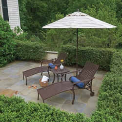 Telescope Casual Cadiz Cast Aluminum Chaise Lounge Set with Side Table - TC-CADIZ-SET3