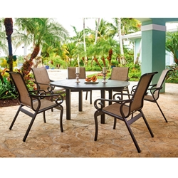 Telescope Casual Charleston Sling Outdoor Dining Set with Hexagon Table - TC-CHARLESTON-SET2