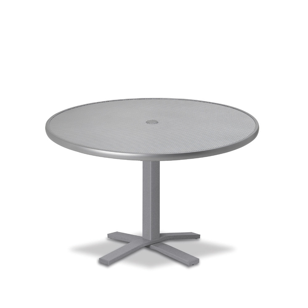 "Telescope Casual Embossed Aluminum 36"" Round Chat Table with Pedestal Base - T960-EA0-1X20"