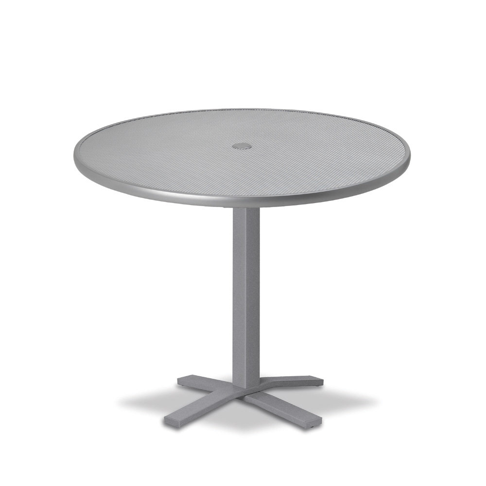 "Telescope Casual Embossed Aluminum 36"" Round Dining Table with Pedestal Base - T960-EA0-2X20"