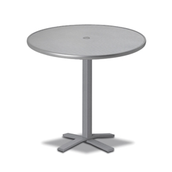 "Telescope Casual Embossed Aluminum 36"" Round Bar Table with Pedestal Base - T960-EA0-4X20"