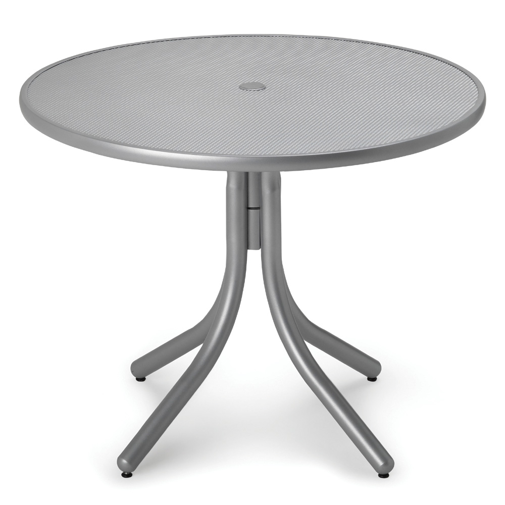 Telescope Casual 36 Inch Round Embossed Aluminum Umbrella Dining Table - T960EAO-2W50LEG