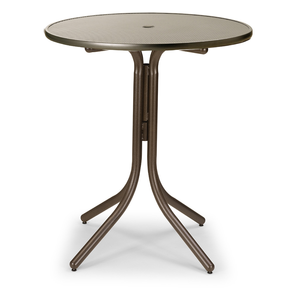 Telescope Casual 36 Inch Round Embossed Aluminum Umbrella Top Bar Height Table - T960EAO-4W50LEG