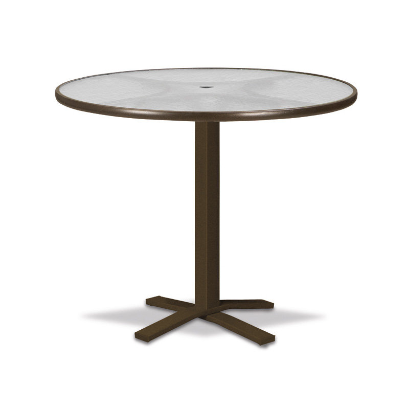 "Telescope Casual Glass Top 42"" Round Bar Table with Pedestal Base - 5900-TOP-4X20"