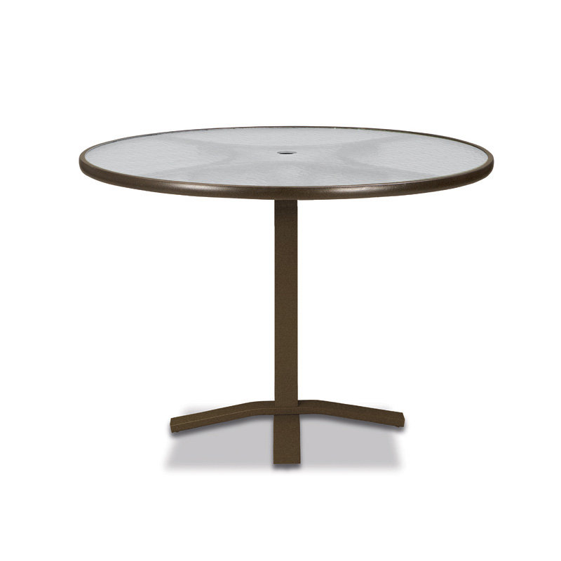 "Telescope Casual Glass Top 36"" Round Balcony Height Table with Pedestal Base - 5960-TOP-3X20"