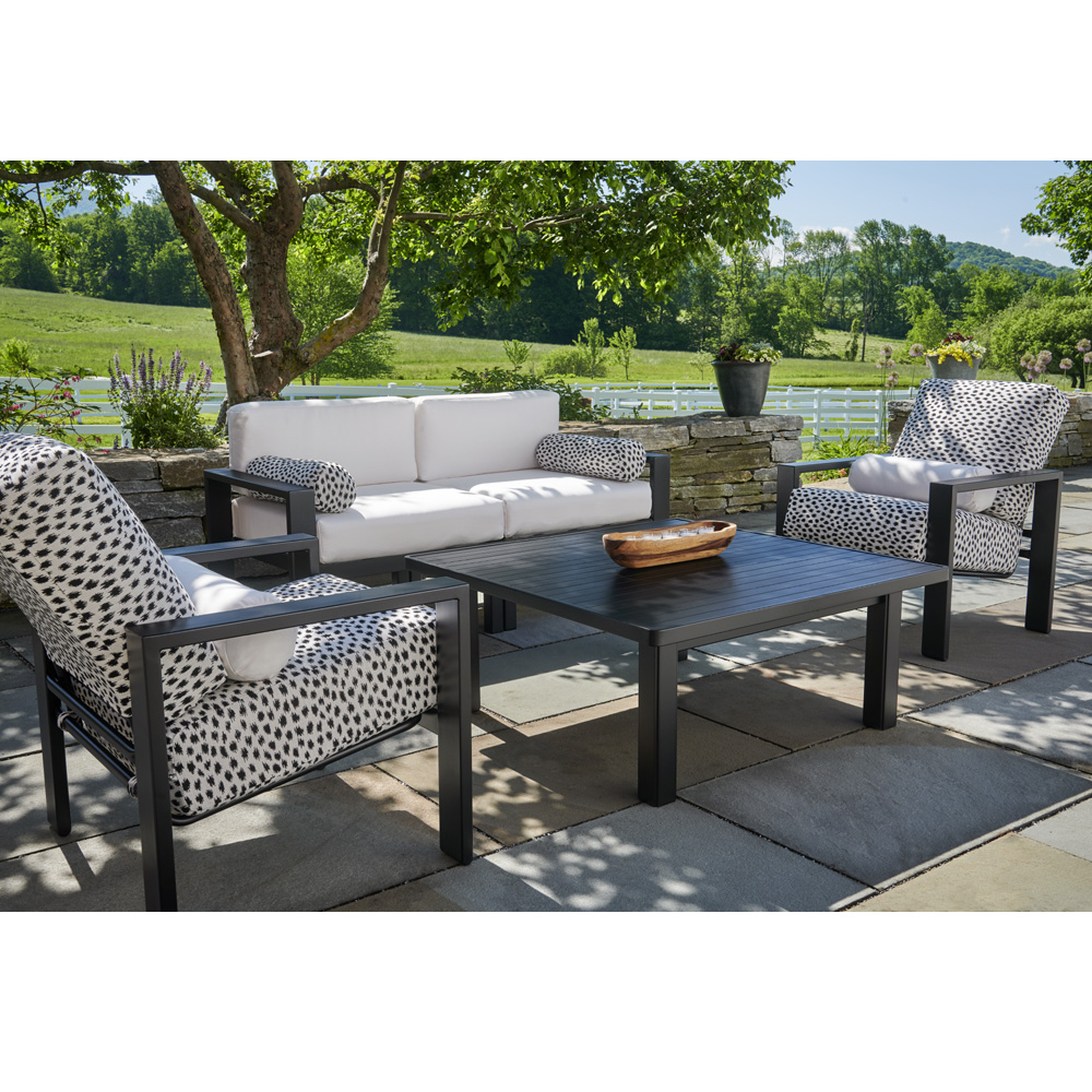 Telescope Casual Larssen Modern Patio Furniture Set With Fire Table