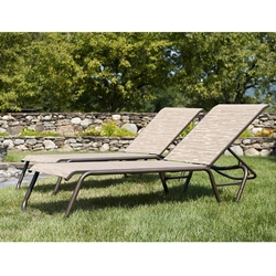Telescope Casual Quick Ship Set of 2 Gardenella Armless Stacking Chaises in Textured Kona and Bark Sling Fabric - SET00301