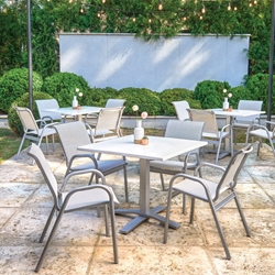Telescope Casual Reliance Contract Sling Bistro Dining Set with Pedestal Base Table - TC-RELIANCE-SET3