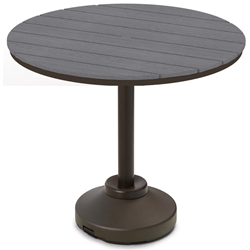 "Telescope Casual 48"" Round Rustic Polymer Bar Table with 120 lb Pedestal Base - TM80R-4P50"