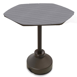 "Telescope Casual 62"" Hexagon Rustic Polymer Bar Table with 120 lb Weighted Pedestal Base - TP00R-4P50"