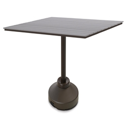 "Telescope Casual 64"" Square Rustic Polymer Bar Table with 120 lb Weighted Pedestal Base - TP60R-4P50"