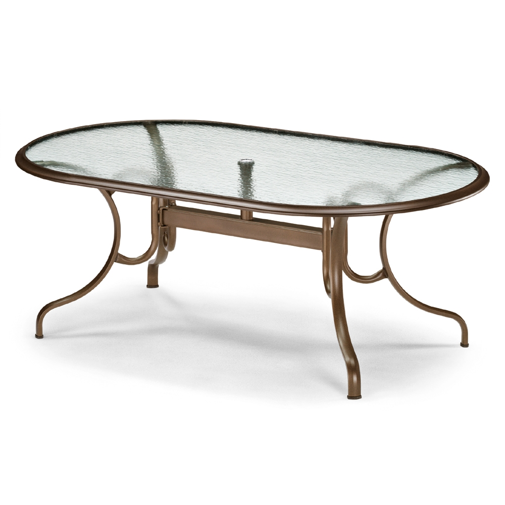 "43"" by 75"" Oval Glass Top Dining Table"