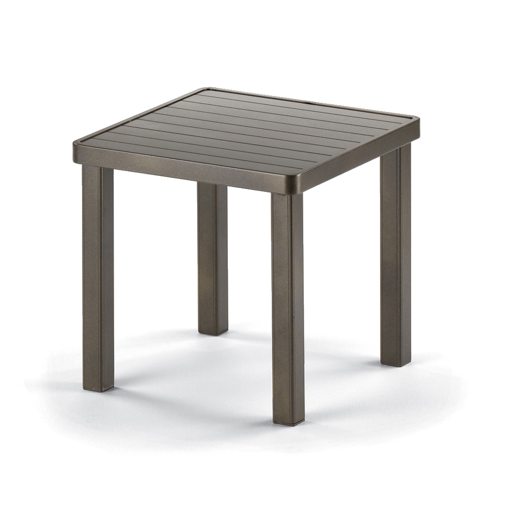"18"" Square Aluminum Slat Top End Table"