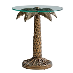 Tommy Bahama Palm Tree Table Base with Glass Top - 3100-204
