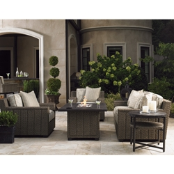 Tommy Bahama Blue Olive Outdoor Wicker Sofa and Lounge Chair Set with Fire Table - TB-BLUEOLIVE-SET4