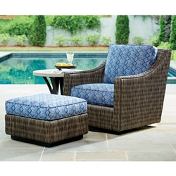 Tommy Bahama Cypress Point Wicker Swivel Glider Lounge Chair with Ottoman and Weatherstone Side Table - TB-CYPRESSPOINT-SET11
