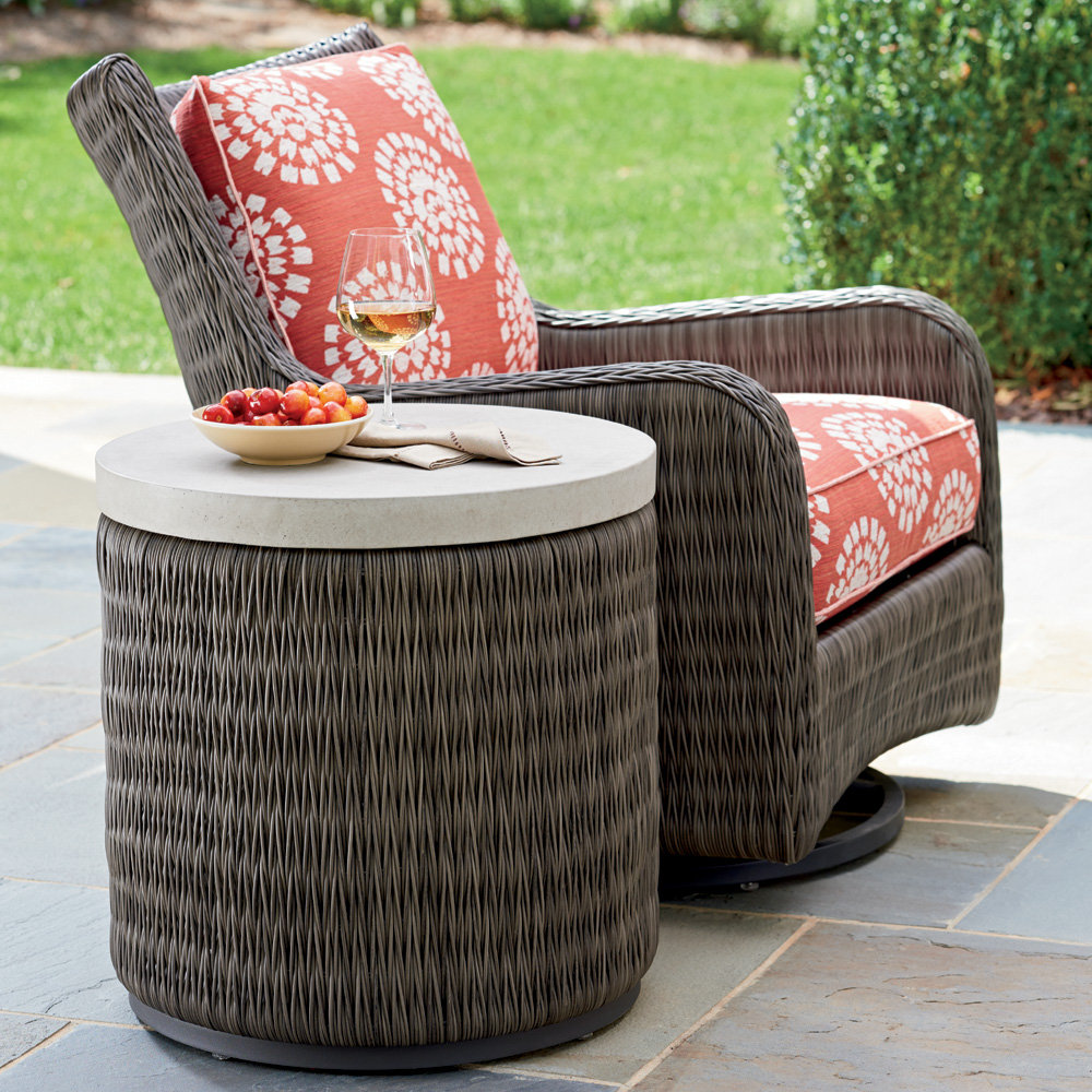 Tommy Bahama Cypress Point Ocean Terrace Occasional Swivel Glider and Side Table Se - TB-CYPRESSPOINT-SET12