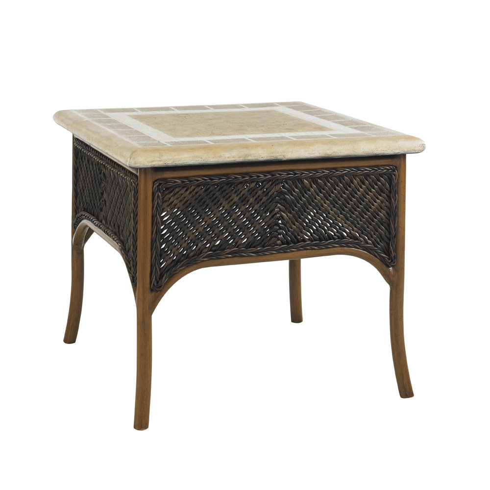 "Tommy Bahama Island Estate 26"" Square Accent Table with Weatherstone Top - 3170-953"