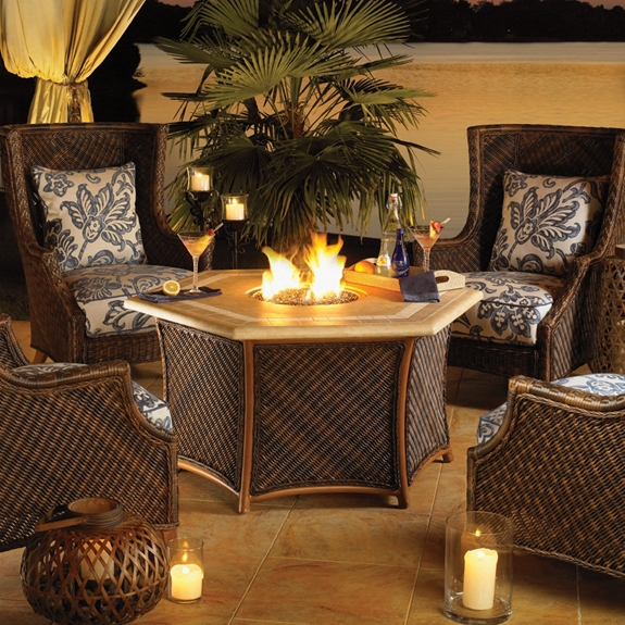 Tommy Bahama Island Estate Lanai Fire Pit Set with Wing Chairs - TB-ISLANDESTATE-SET5