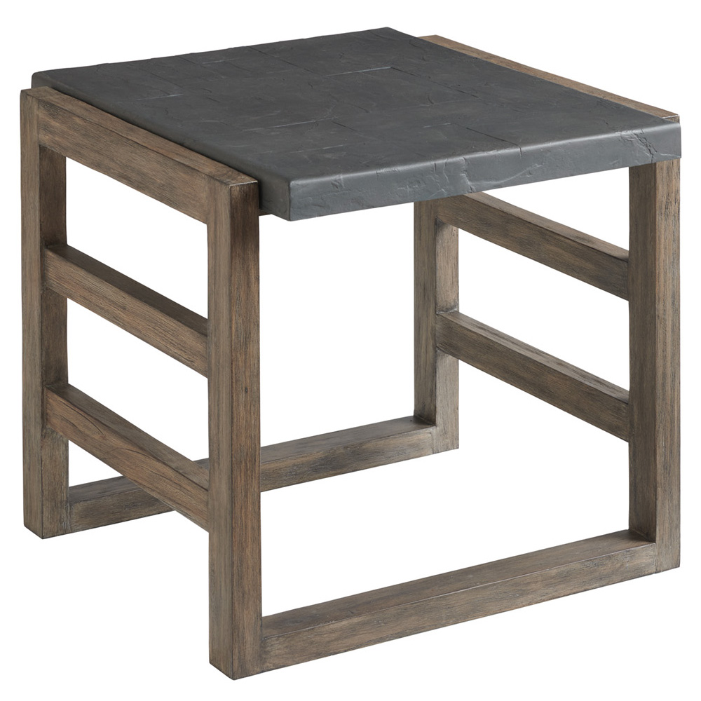 Tommy Bahama La Jolla Rectangular End Table with Faux Slate Top - 3950-957