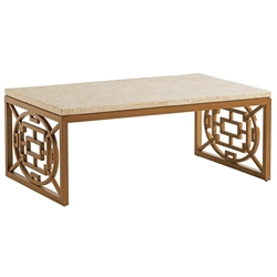 Tommy Bahama Los Altos Valley View Rectangle Cocktail Table with Stone Top - 3930-943