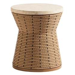 Tommy Bahama Los Altos Valley View Round Side Table with Stone Top - 3930-950