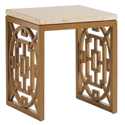 Tommy Bahama Los Altos Valley View Square Accent Table with Stone Top - 3930-953