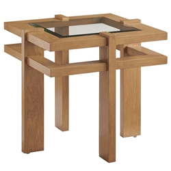 Tommy Bahama Los Altos Valley View Square End Table with Glass Top - 3930-957