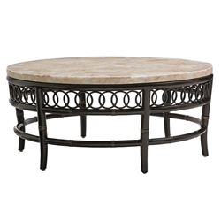 "Tommy Bahama Marimba 42"" Round Cocktail Table with White Crystal Stone Top - 3237-943"