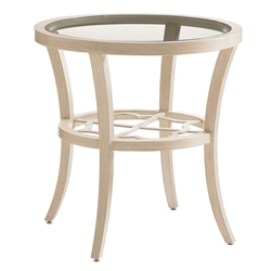"Tommy Bahama Misty Garden 24"" Round End Table with Glass Top - 3239-950"
