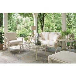Tommy Bahama Misty Garden Cushion Outdoor Love Seat and Lounge Chair with Ottoman Patio Set - TB-MISTYGARDEN-SET5