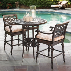 Tommy Bahama Black Sands Cast Aluminum Bistro Bar Table Set - TB-BLACKSANDS-SET3