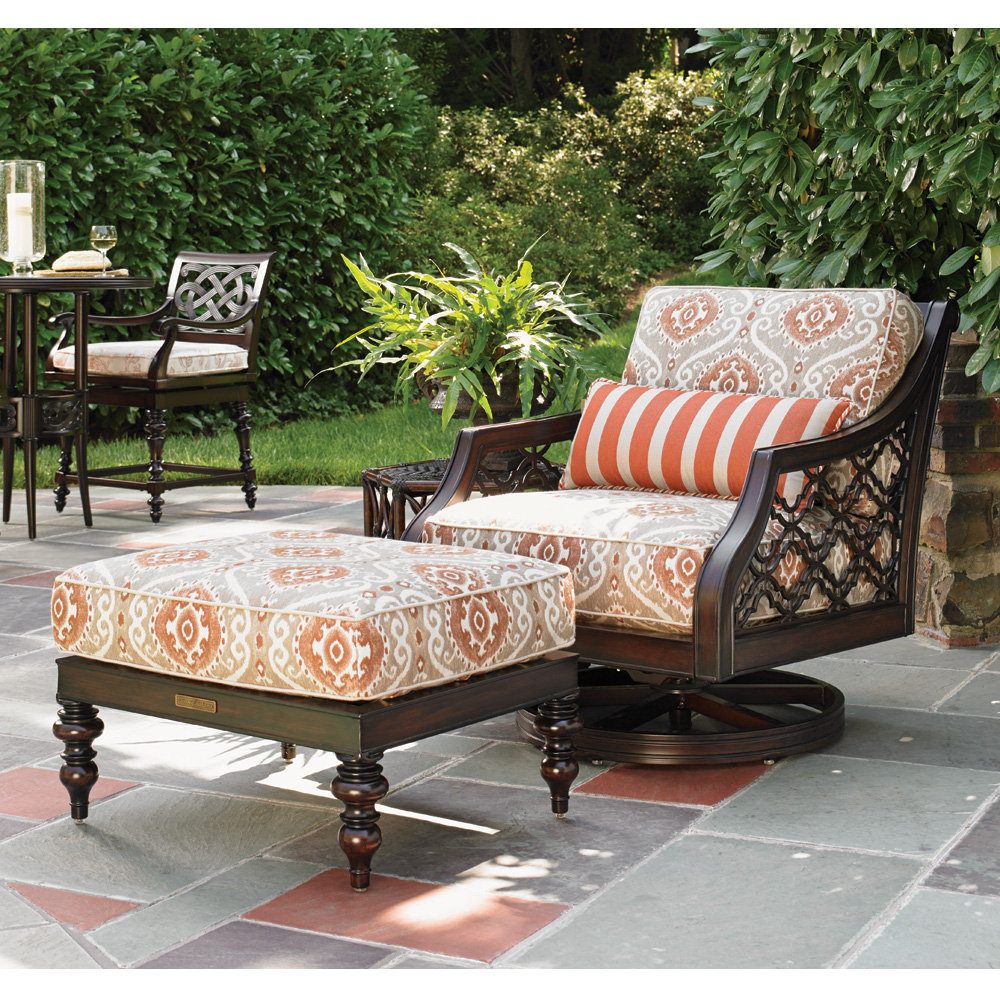 Tommy Bahama Black Sands Cast Aluminum Swivel Rocker with Ottoman and Side Table Set - TB-BLACKSANDS-SET6